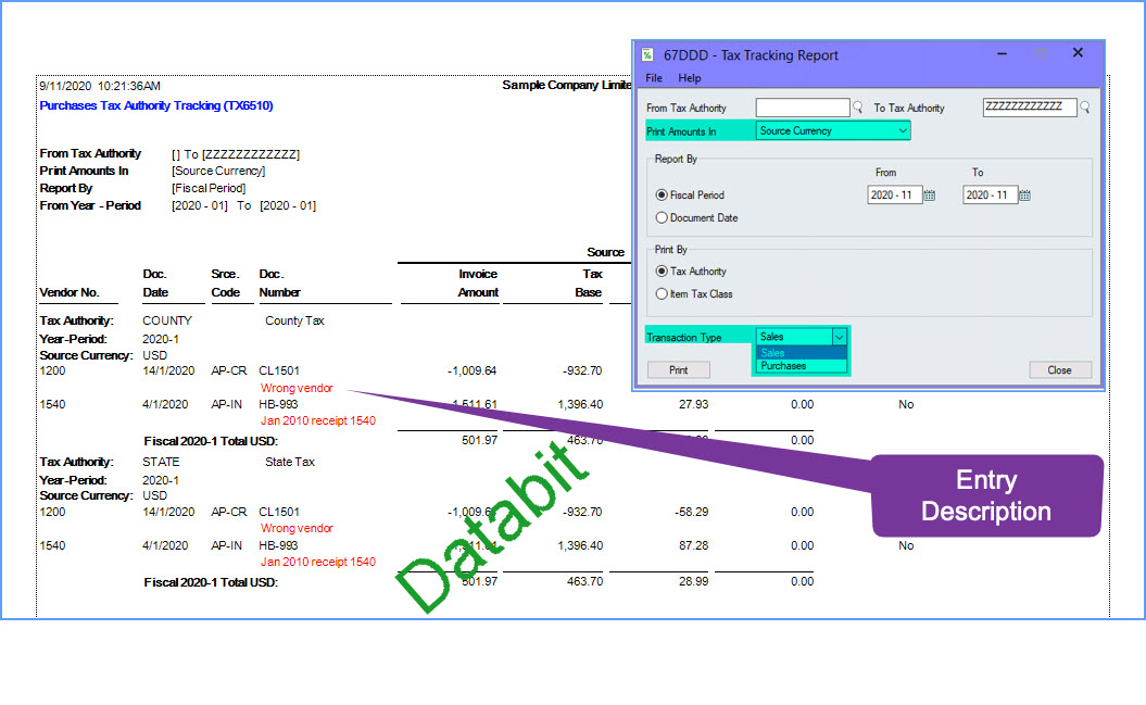 Tax Tracking Report Show Entry Desc