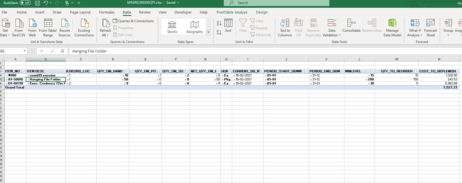 schedule reorder report
