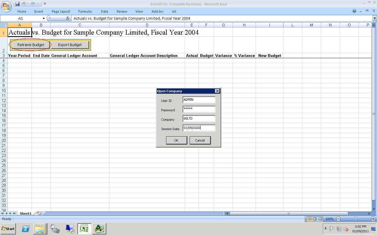 Updates GL Budgets using EXCEL